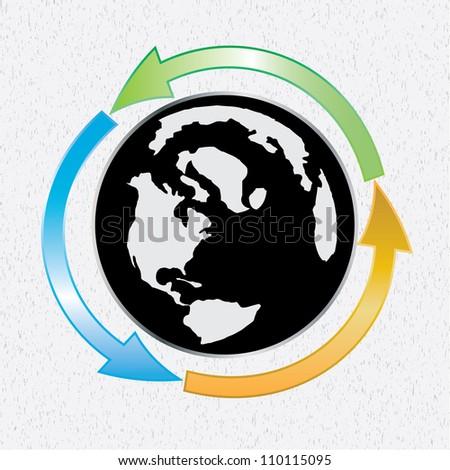 Earth globe whit arows on texture - stock photo