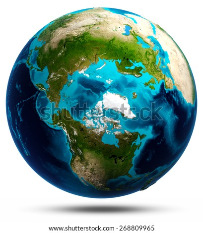 Earth globe white isolated. Elements of this image furnished by NASA