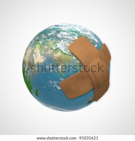 Earth globe with a band aid - nature conservation concept