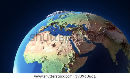 Earth globe with exaggerated topological features - stock photo