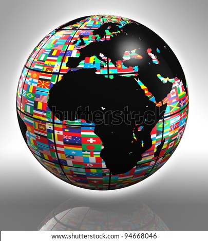 earth globe with flags featuring africa and europe - stock photo