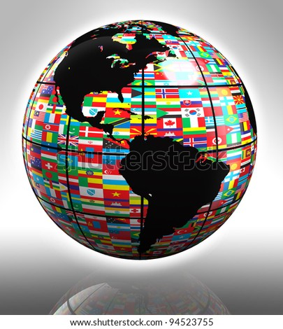 earth globe with flags featuring north and south america - stock photo