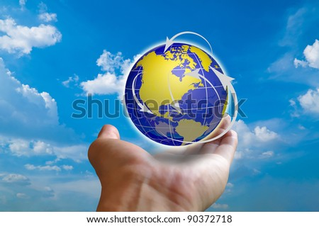 Earth globe with globalization concept in male hand
