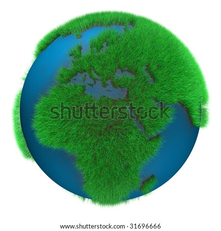 Earth Globe with grass view of Africa and Europe