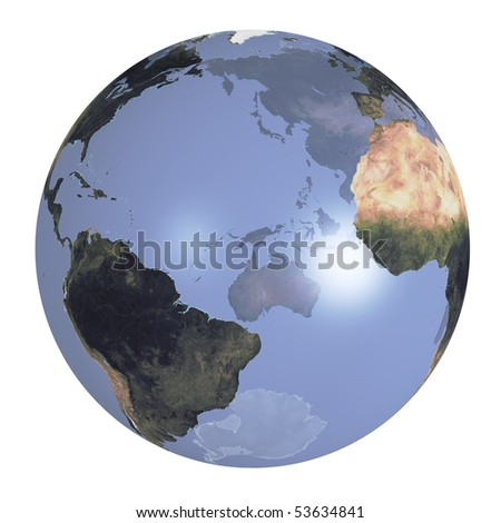 Earth globe with real continents.