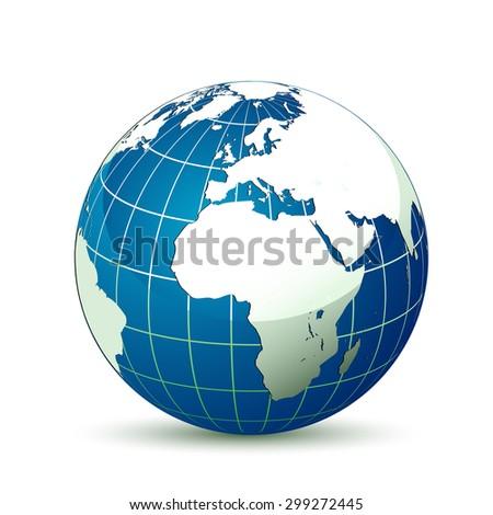 Earth globe with shadow - stock photo