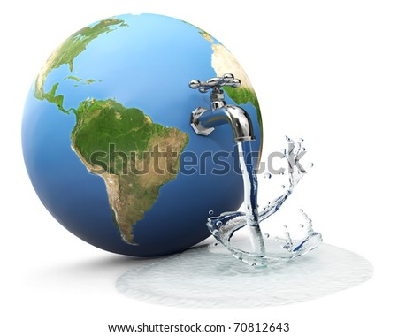 Earth globe with water tap dropping water - stock photo