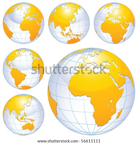 Earth globes isolated on white. - stock photo