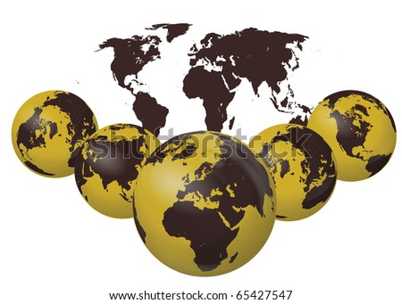 Earth Globes Isolated On White - stock photo