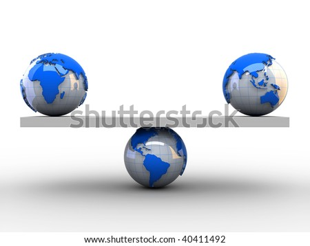 Earth globes sitting in balance on a conceptual scale - 3d render - stock photo