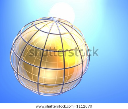earth gold grid 3d - stock photo