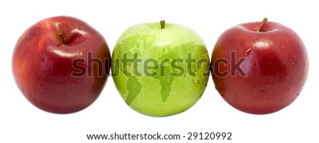 earth green apple with red apples - stock photo