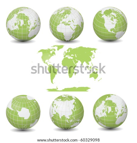 Earth Green Globes collection with World map illustration clip art isolated on white