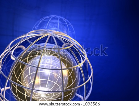 earth grid 3d - stock photo
