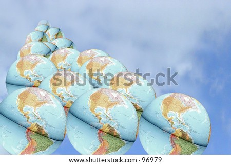 Earth Group diminishing in the background - stock photo