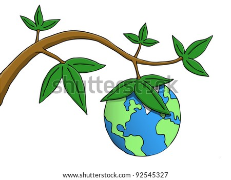 Earth hanging as fruit from a branch. Symbolic picture of environmental, responsibility and existential issues. - stock photo