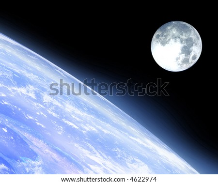 Earth horizon with moon