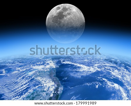 Earth horizon with rising Moon. Earth disk furnished by NASA/JPL. - stock photo
