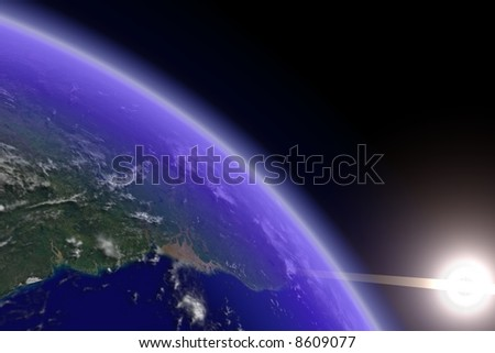 Earth horizon with visible cloud shadows. Render.