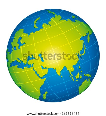 Earth icon. Asian and russian view. Vector illustration. - stock photo