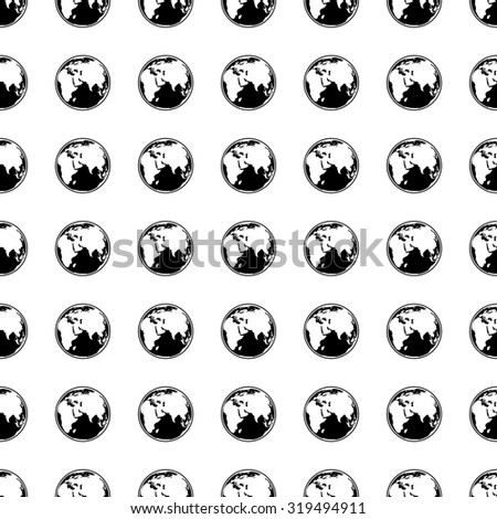 Earth icon seamless pattern, tiling ornament on white.