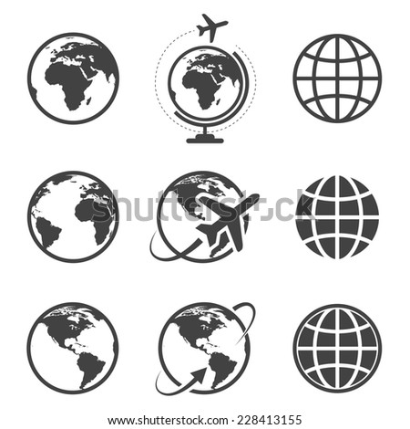 Earth icons set on white background - stock photo
