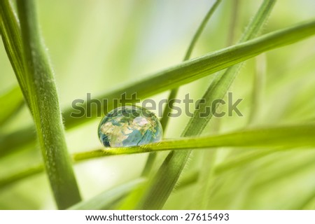 Earth in a drop - stock photo
