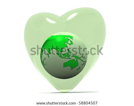 earth in a heart - stock photo