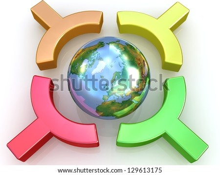 Earth in colorful centre. Elements of this image furnished by NASA. - stock photo