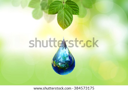 earth in drop shape float from green leaf.Elements of this image furnished by NASA. United Nations Climate Change Conference - stock photo