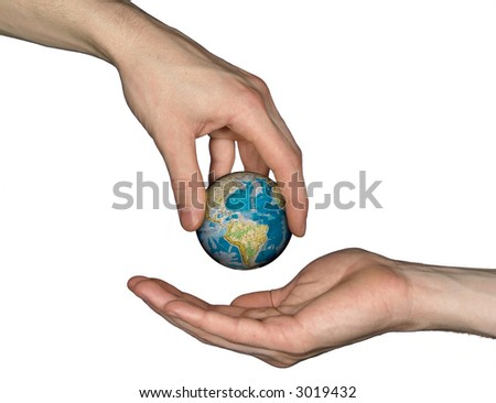 Earth in hand - stock photo