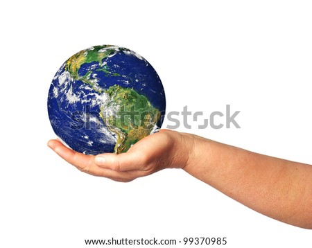 Earth in hand isolated on white - stock photo