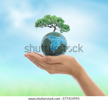 Earth in hand isolated on white background. Environment and ecology concept. - stock photo
