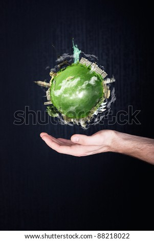 Earth in hand. travel concept - stock photo