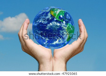 Earth in Hands - stock photo