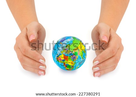 Earth in hands isolated on white background - stock photo