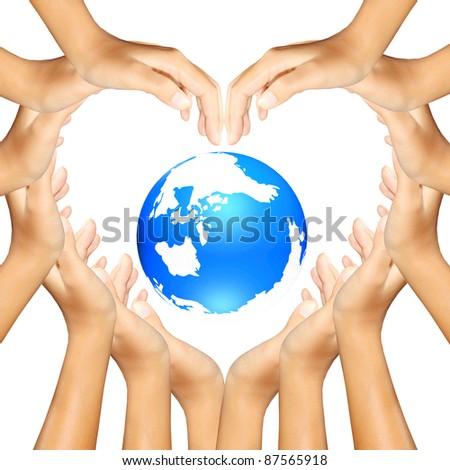 earth in hands making a a heart - stock photo