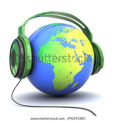 earth in headphones isolated on white background - stock photo