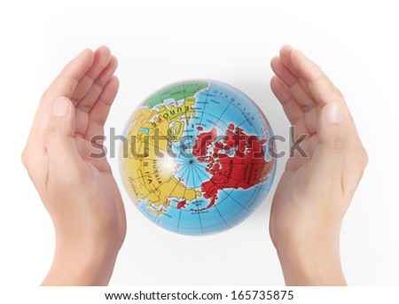 "earth in human the hand ""Elements of this image furnished by NASA""  - stock photo"