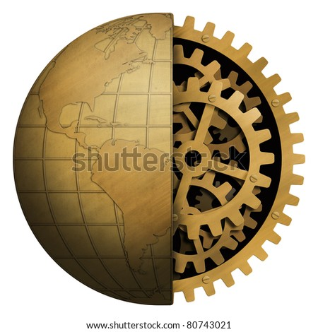 earth in metal with cogwheels inside - stock photo