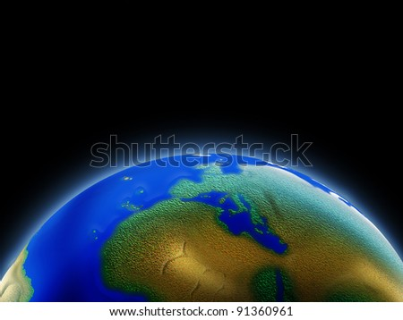 Earth in orbit of the universe. - stock photo