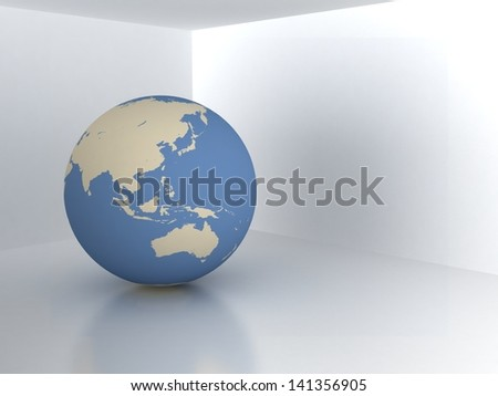 Earth in room. Real estate concept - stock photo