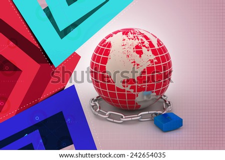 Earth in silver chains closed to padlock - stock photo