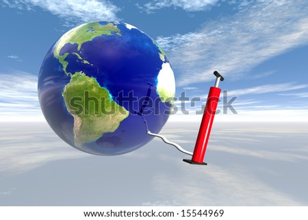 Earth in sky with air pump map courtesy nasa - stock photo