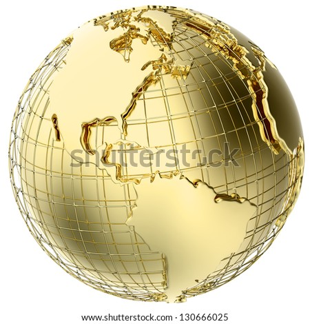 Earth in solid gold isolated on white (3d mesh map derived from NASA source map - http://visibleearth.nasa.gov/) - stock photo