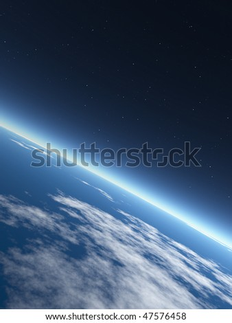 Earth in Space. Rendered graphics