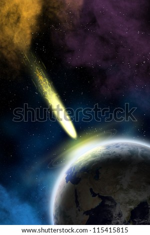 Earth in space with a flying asteroid. Asteroid impact. Apocalypse (elements furnished by NASA). - stock photo