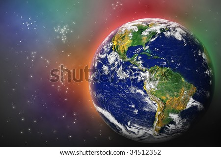 Earth in Space with lots of stars, photo of Earth from NASA