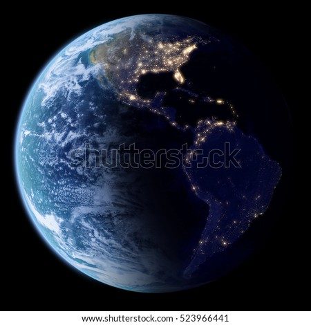 Earth in space with night lights, Earth and clouds textures taken from Nasa.gov, 3d render