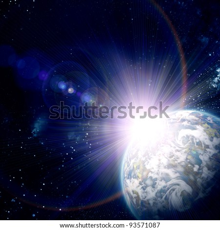 earth in space, with stars abstract background - stock photo
